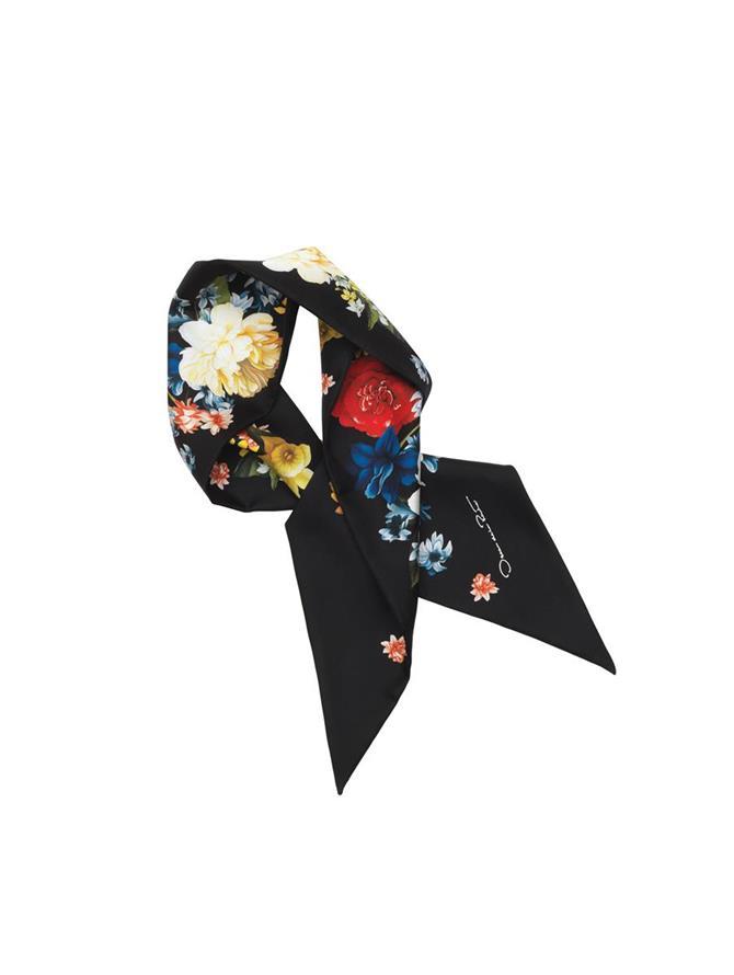 Bouquet Losange Silk Scarf Black Multi