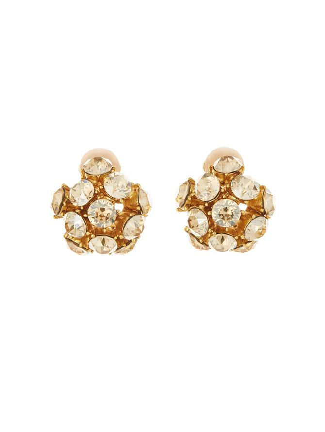Crystal Dome Button Earrings
