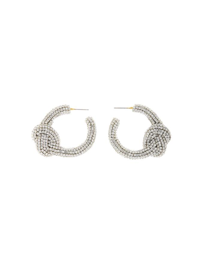 Embroidered Knot Hoop Earring Crystal/Silver