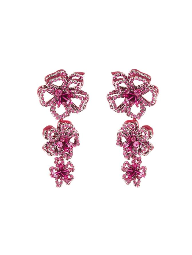 Embroidered Flower Drop Earrings Fuschia