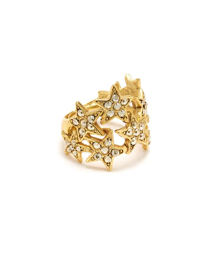 Star Cluster Ring Crystal Gold Shadow