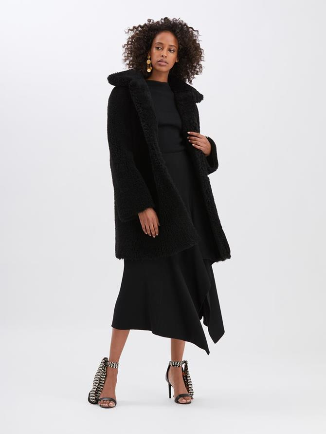 Shearling Swing Coat with Collar