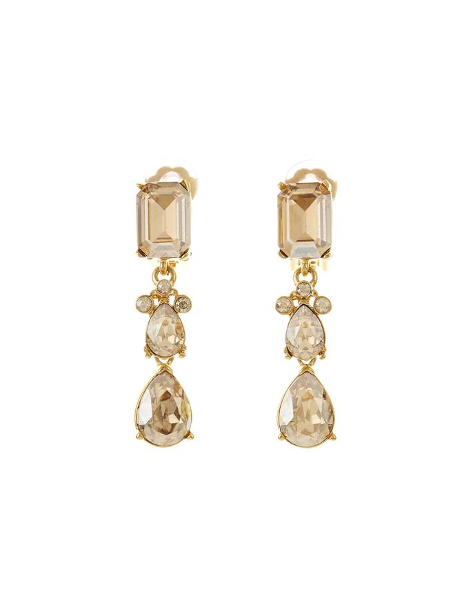 Classic Crystal Small Drop Earring Crystal Gold Shadow