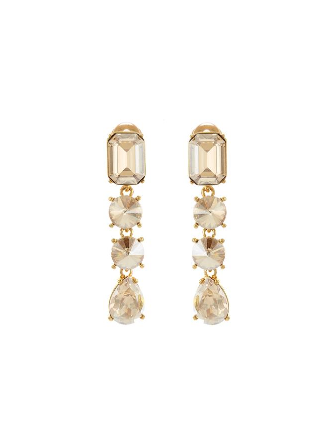 Classic Crystal Large Drop Earring Crystal Gold Shadow