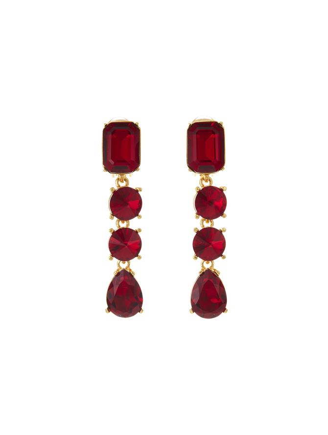 Classic Crystal Large Drop Earring Ruby