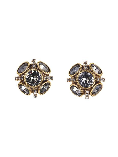 Classic Button Earring Black Diamond