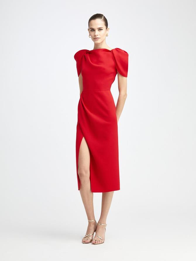 Draped Sleeve Slit Midi Dress