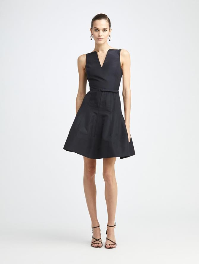 Silk Faille V-Neck Dress