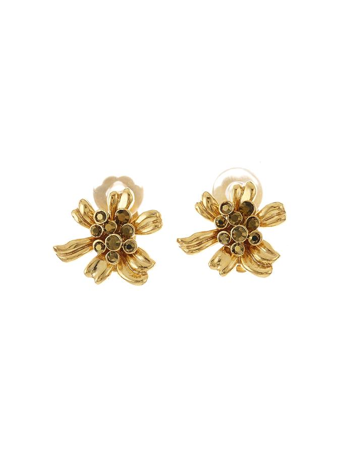Classic Crystal Flower Button C Earring