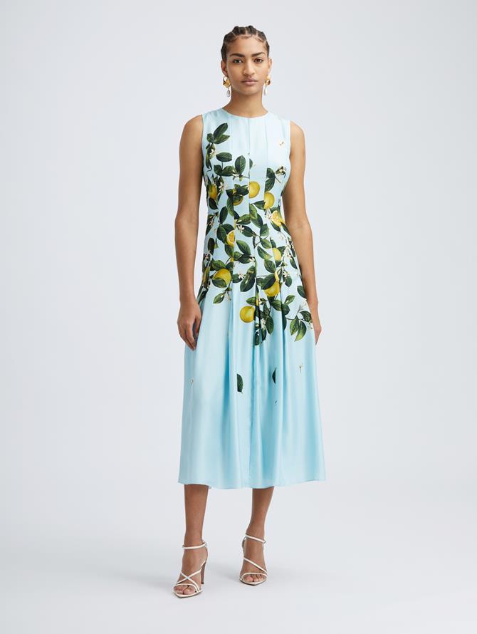 Sleeveless Silk Citrus Primavera Dress