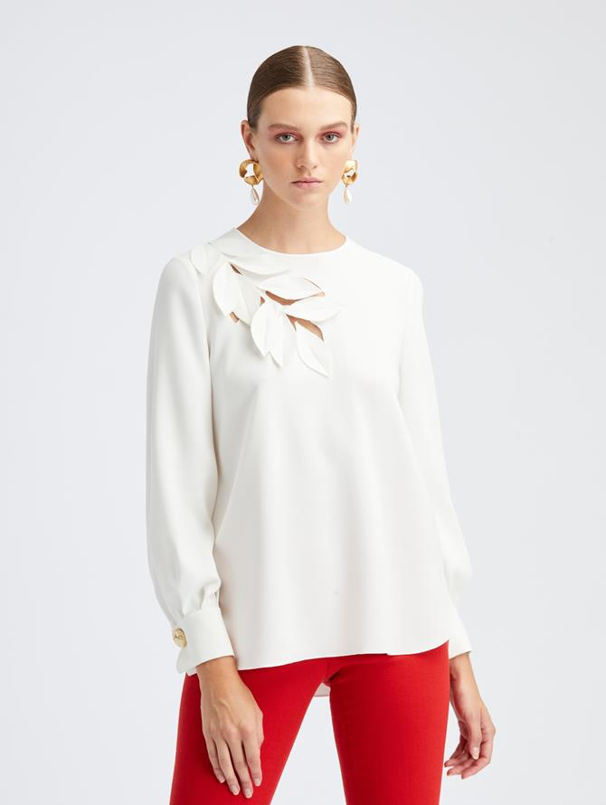 Cutout Silk Blouse