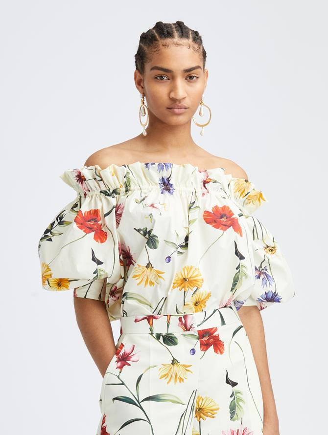 Cotton Poplin Off Shoulder Blouse