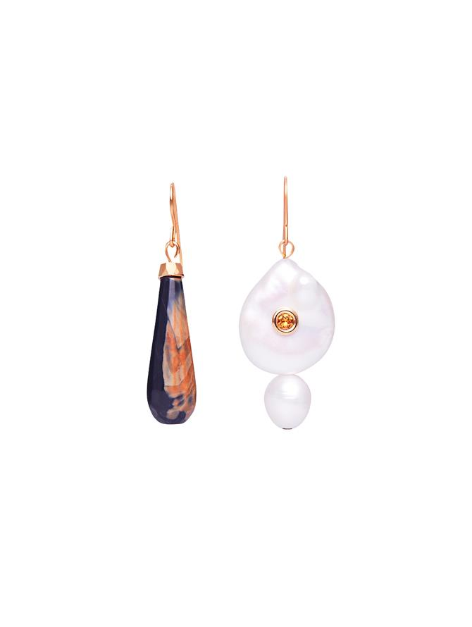 Pearl & Topaz Drop Earrings