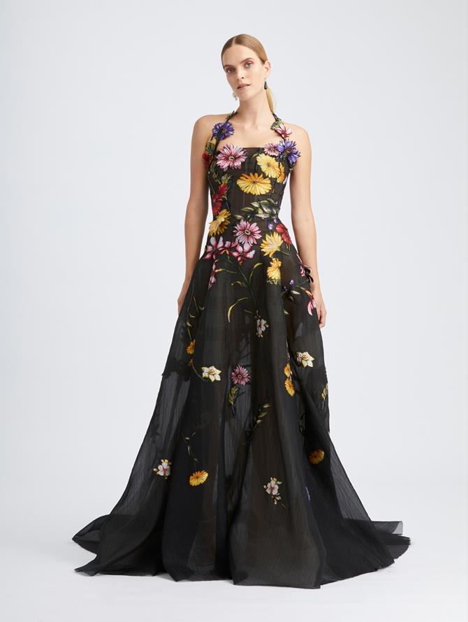Fiore Fil Coupé  Halter Gown