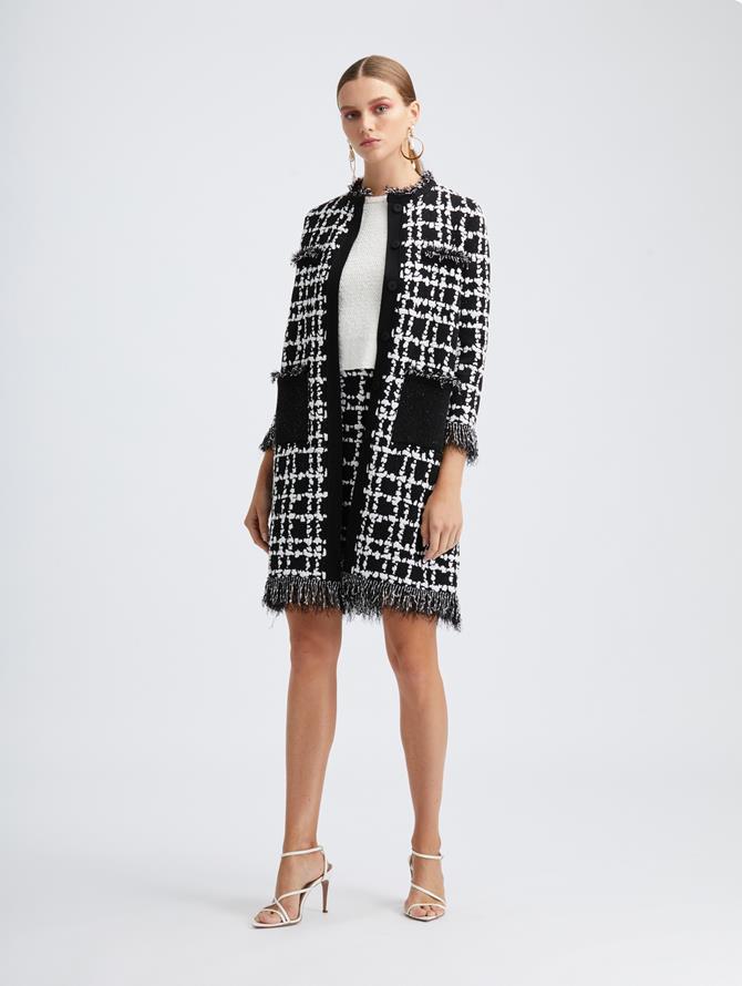 Plaid Fringe Knit Coat