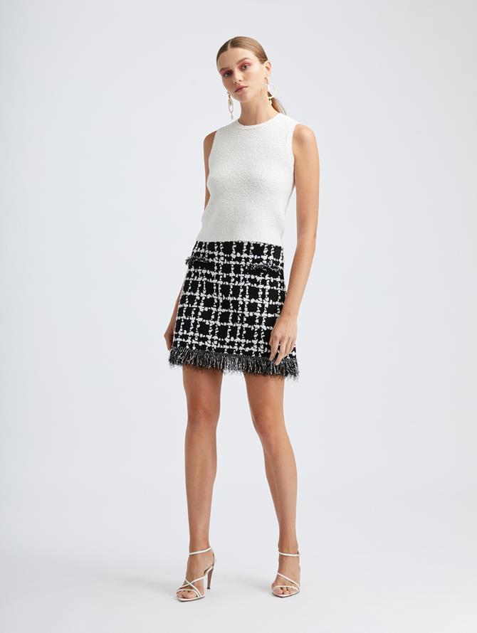 Stretch Plaid Knit Skirt