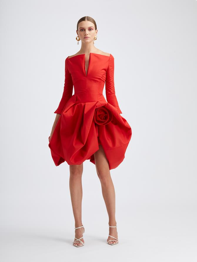 Scarlet Rosette Cocktail Dress