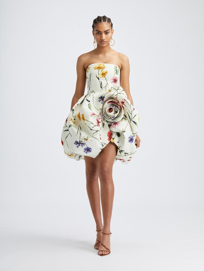 Strapless Rosette Cocktail Dress