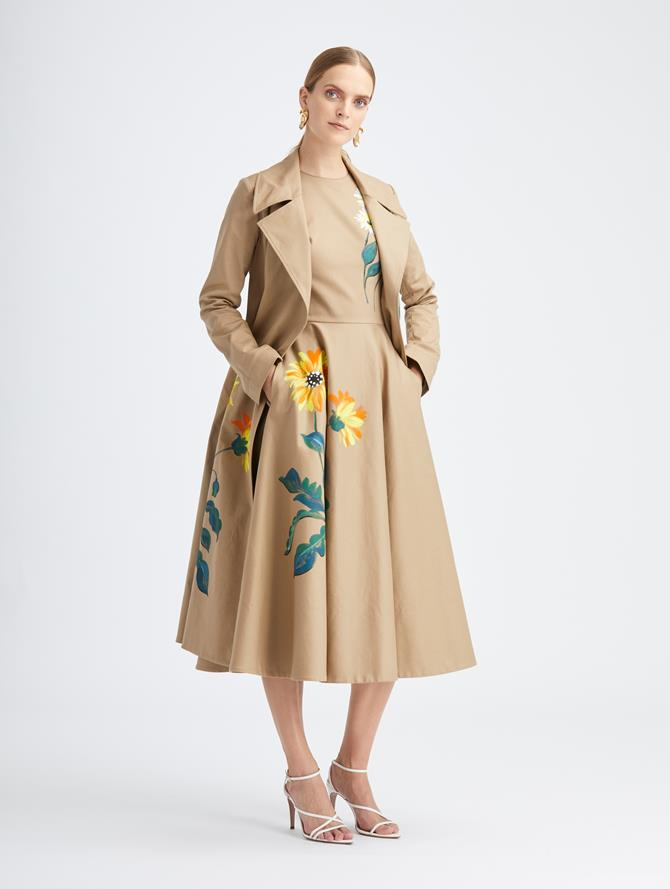 Hand Painted Floral Trench Coat