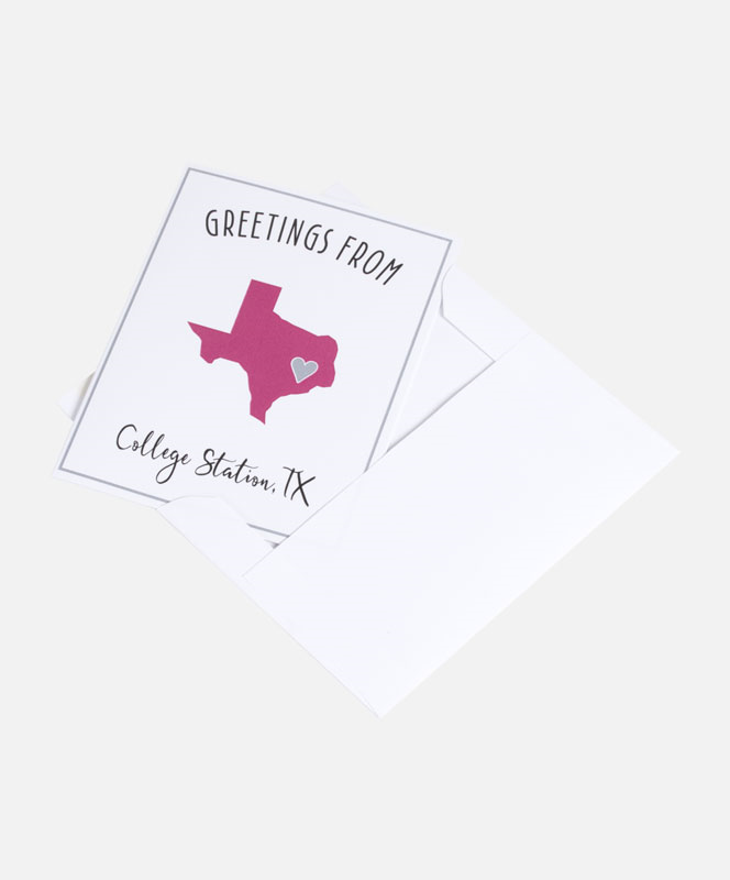 State greeting card greeting aggieland outfitters these greeting cards are perfect for writing home to mom and dad greetings from college station tx is written around a maroon texas with a heart over m4hsunfo