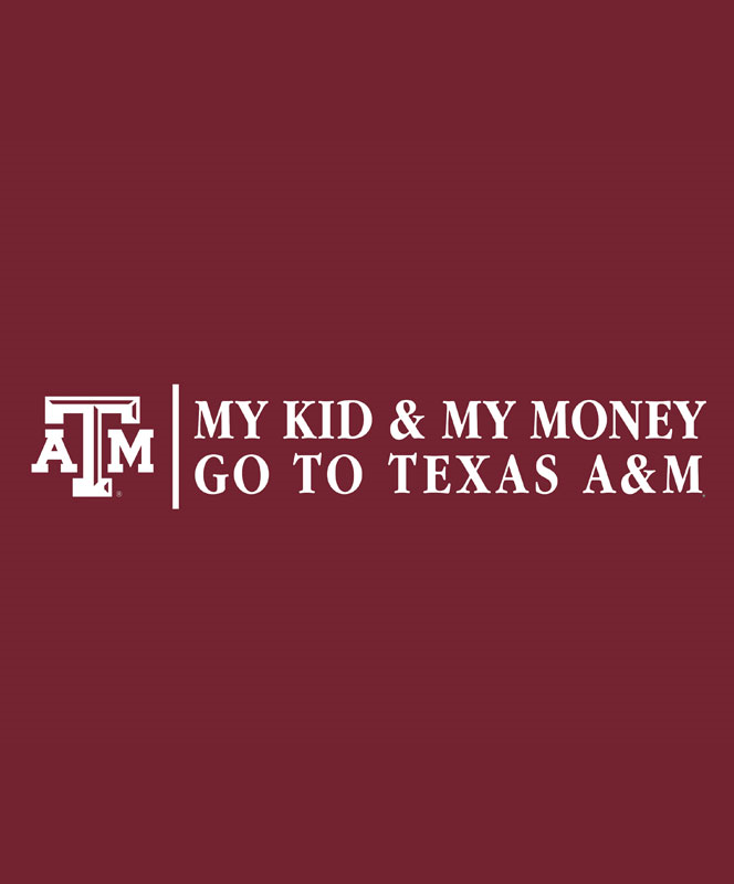 texas a m aggie my kid my money decal white aggieland outfitters