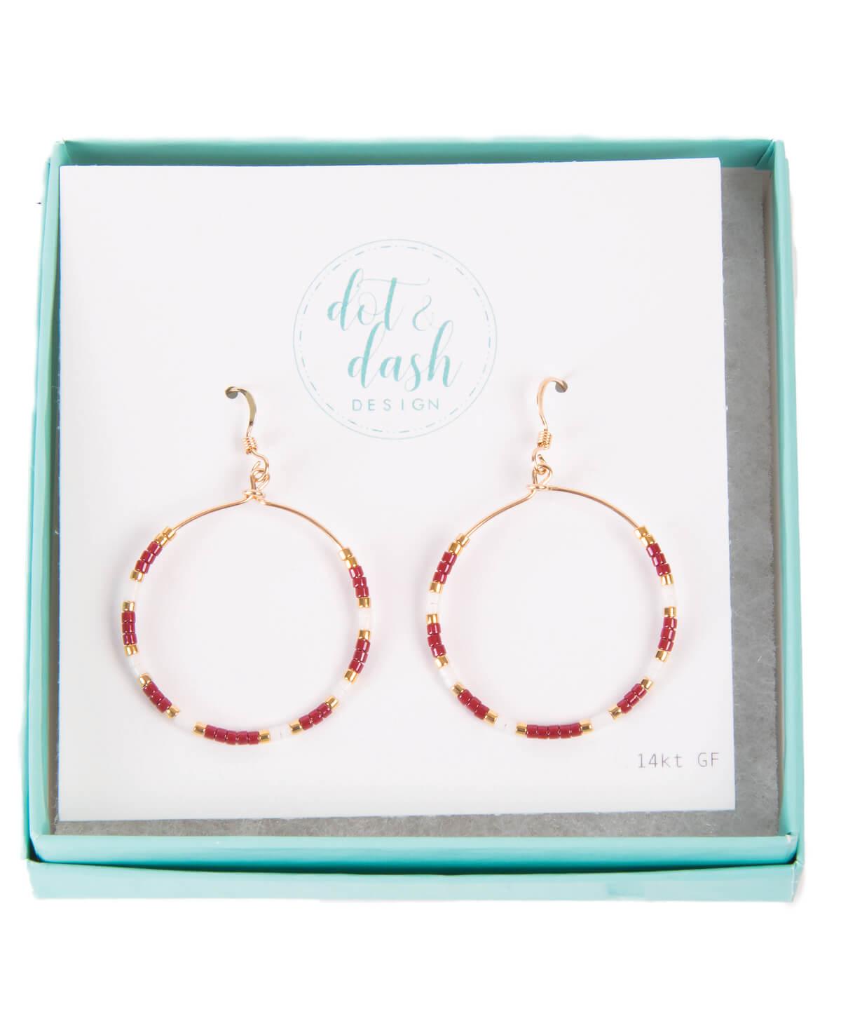 Dot And Dash Design Maroon White Morse Code Hoop Earrings