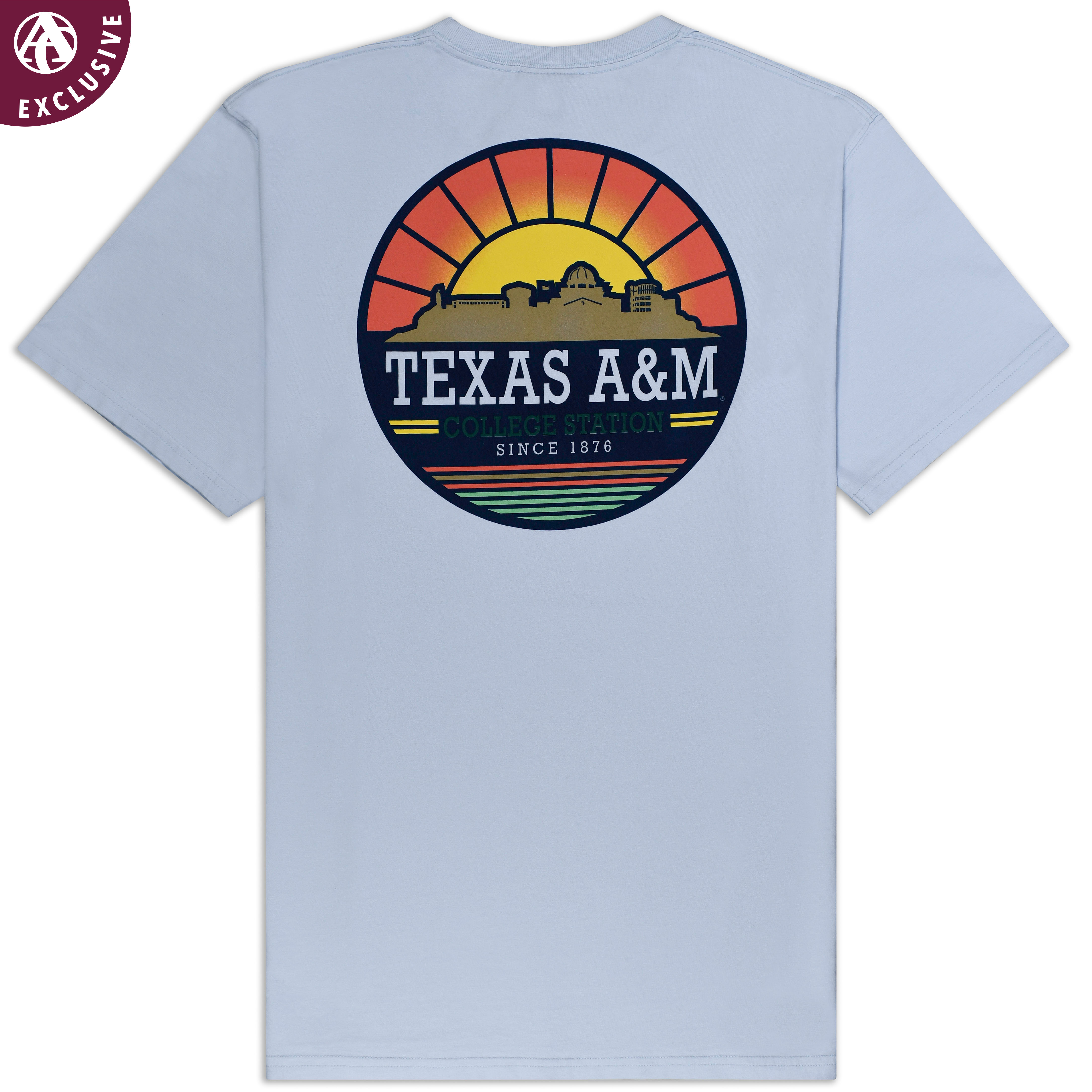 8c84edeab A great way to wear your love for your university and her beautiful  sunrises, this comfy tee features a shot of the campus skyline at dawn, in a  circular ...
