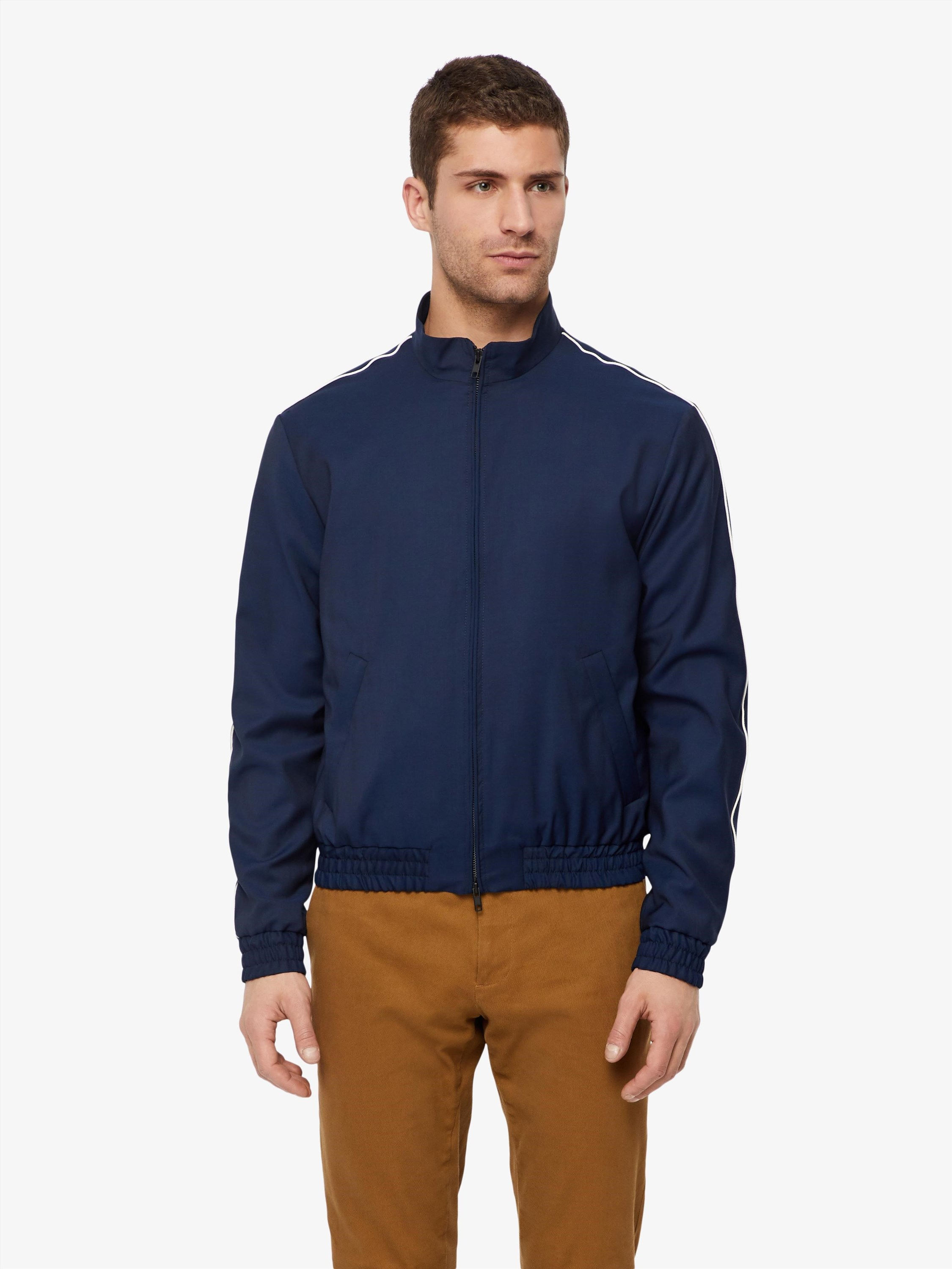 648df2de5b4 A slim sports wool natural stretch jacket with a slight stand collar and  kangaroo-pocket on front. – Italian wool fabric with natural stretch